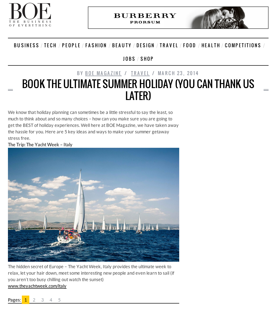 BOE Magazine is featuring The Yacht Week