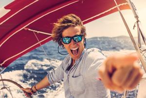 Boy sailing having fun
